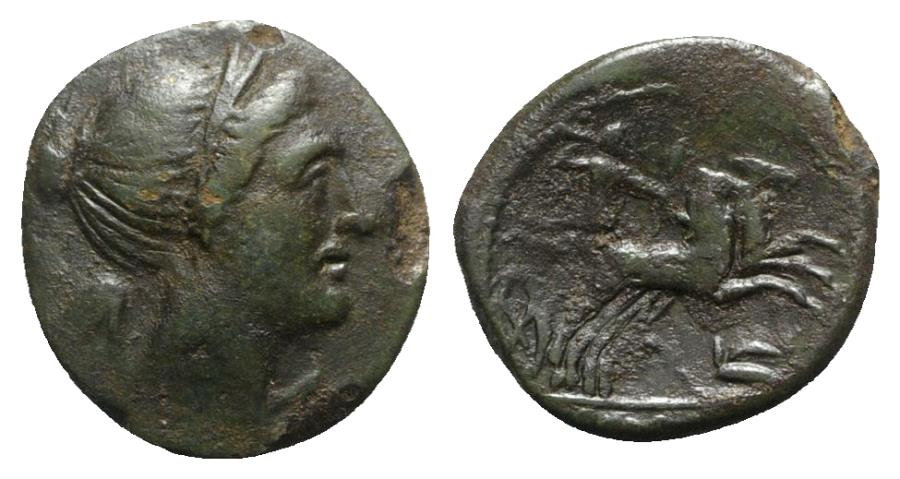 Ancient Coins - Bruttium, The Brettii, c. 211-208 BC. Æ Half Unit