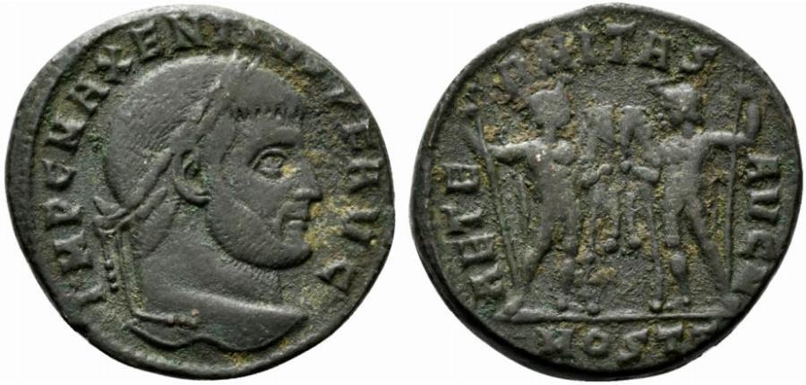 Ancient Coins - Maxentius (307-312). Æ Follis. Ostia, 309-312. R/ The Dioscuri