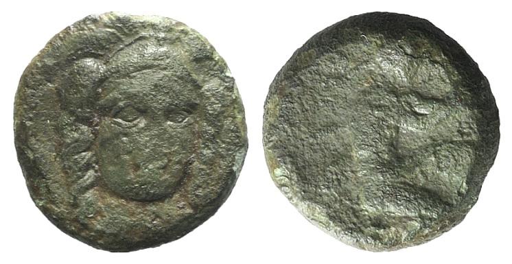 Ancient Coins - Sicily, Solus, c. 4th century BC. AE Tetras RARE