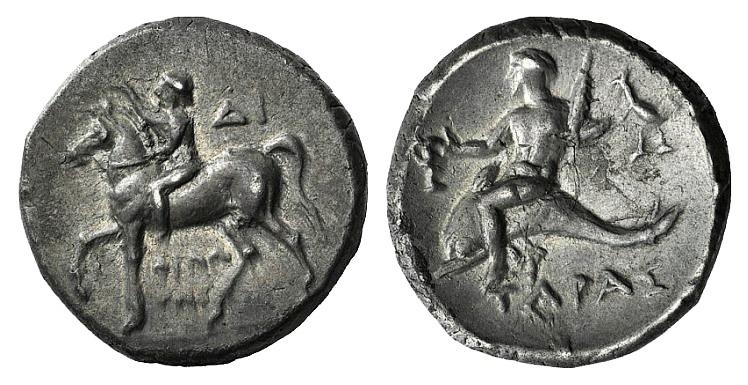 Ancient Coins - Apulia, Tarentum, c. 272-240 BC. AR Nomos. Philotas and Di-, magistrates.