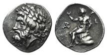 Ancient Coins - ARKADIA, Arkadian League. Circa 330-275 BC. AR Triobol or Hemidrachm. Megalopolis mint. near EF old cabinet tone