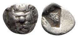 Ancient Coins - Lesbos, Methymna, c. 500/480-460 BC. AR Hemiobol - Silenos / Incuse