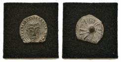 Ancient Coins - PB Pilgrim Badge, c. 15th century. Facing head of St. Peter? R/ dot / star.