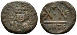 Ancient Coins - Heraclius (610-641). Æ 20 Nummi. Carthage, year 5 (616/7).  R/ Large X·X