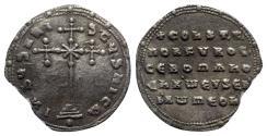 Ancient Coins - Constantine VII and Romanus I (913-959). AR Miliaresion