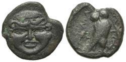 Ancient Coins - Sicily, Kamarina, c. 420-405 BC. Æ Tetras. Gorgoneion facing. R/ OWL