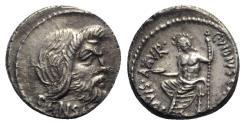 Ancient Coins - Roman Imperatorial, C. Vibius C.f. C.n. Pansa Caetronianus, Rome, 48 BC. AR Denarius. Mask of Pan. R/ Jupiter Axurus seated