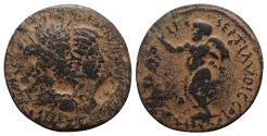 Ancient Coins - Septimius Severus and Julia Domna (193-211). Seleucis and Pieria, Laodicea ad Mare. Æ 33.5mm. Jugate busts of Septimius Severus and Julia Domna R/ Marsyas