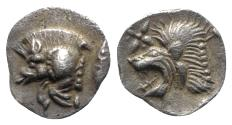 Ancient Coins - Mysia, Kyzikos, c. 450-400 BC. AR Hemiobol. Forepart of boar. R/ Head of lion EXTREMELY FINE
