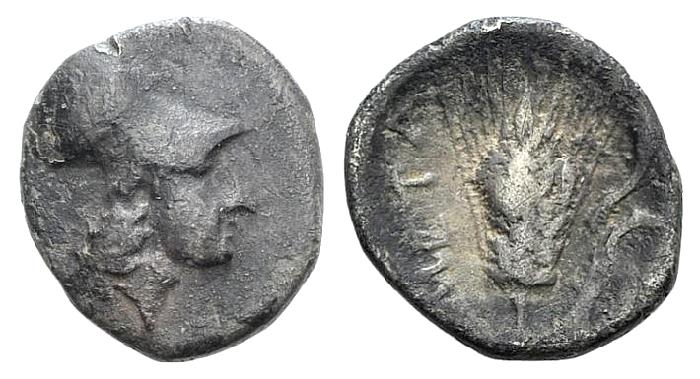 Ancient Coins - Italy, Lucania, Metapontion, c. 325-275 BC. AR Diobol
