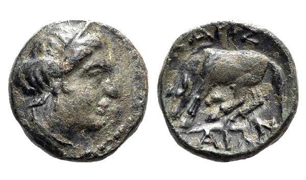 Ancient Coins - Thessaly, Larissa, c. 380-337 BC. Æ Chalkous