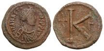 Ancient Coins - Anastasius I. 491-518. Æ Half Follis. Constantinople mint, 3rd officina. Struck AD 498-518.