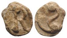 Ancient Coins - Roman PB Tessera, c. 1st century BC - 1st century AD. Large Q. R/ Large T