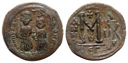 Ancient Coins - Heraclius with Heraclius Constantine (610-641). Æ 40 Nummi - Thessalonica, year 8