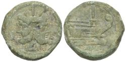 Ancient Coins - ROME REPUBLIC Anonymous, Rome, after 211 BC. Æ As Head of Janus. R/ Prow of galley