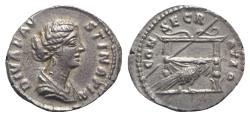 Ancient Coins - Diva Faustina Junior (died AD 175). AR Denarius. Rome. R/ Throne and Peacock  EXTREMELY FINE