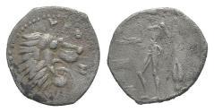 Ancient Coins - Sicily, Leontinoi, c. 450-440 BC. AR Litra. Head of lion. R/ River god