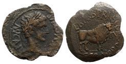 Ancient Coins - Augustus (27 BC-AD 14). Spain, Calagurris. Æ As - L. Baebius Priscus and C. Gran. Brocchus, duoviri