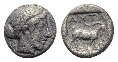 Ancient Coins - Troas, Antandros, late 5th century BC. AR Diobol - Artemis Astyrene / Goat