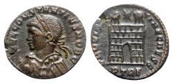 Ancient Coins - Constantius II (Caesar, 324-337). Æ Follis - Treveri - R/ Camp-gate