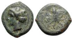 Ancient Coins - Sicily, Syracuse, c. 400 BC. Æ Tetras  - Arethusa / Octopus