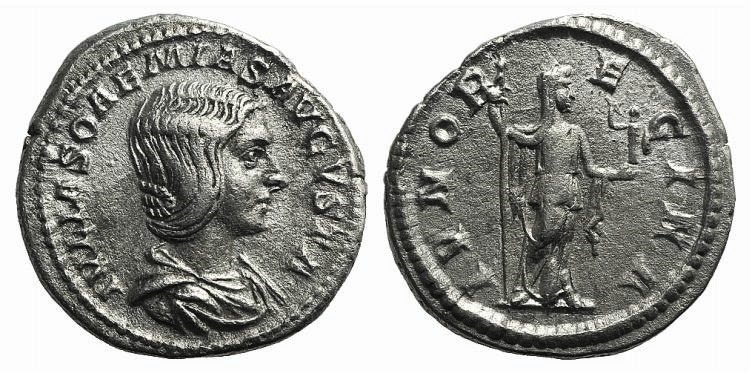 Ancient Coins - Julia Soemias (218-222). AR Denarius R/ JUNO