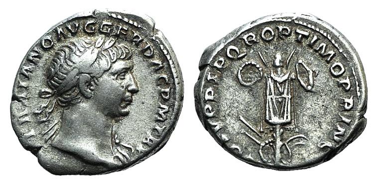 Ancient Coins - Trajan (98-117). AR Denarius. Rome, c. 107-108. R/ Trophy.