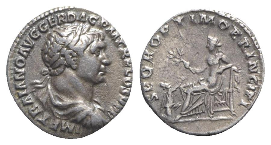 Ancient Coins - Trajan (98-117). AR Denarius. Rome, c. 106-111.  R/ PAX