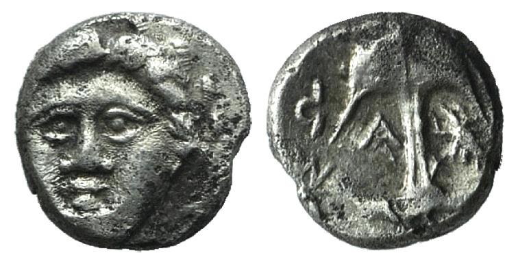 Ancient Coins - Thrace, Apollonia Pontika, mid-late 4th century BC. AR Diobol