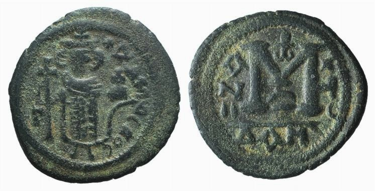 Ancient Coins - Arab-Byzantine, c. 680s. Æ Fals. Tabariya, mint name in Greek and Arabic. RARE