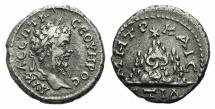 Ancient Coins - CAPPADOCIA, Caesarea-Eusebia. Septimius Severus. AD 193-211. AR Drachm. Dated RY 14 (AD 205/6). R/ Mt. Argaeus