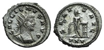Ancient Coins - Gallienus. A.D. 253-268. Antoninianus. Antioch mint. R / SALVS AVG/ P XV, Apollo EXTREMELY FINE and RARE