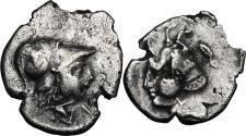 Ancient Coins - MYSIA, Lampsakos. 4th-3rd centuries BC. AR Tetrobol RARE and Interesting Overstruck