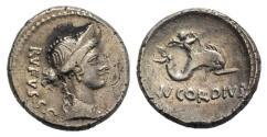 Ancient Coins - Roman Imperatorial, Mn. Cordius Rufus, Rome, 46 BC. AR Denarius R/ Cupid riding dolphin