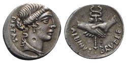 Ancient Coins - Roman Imperatorial, Albinus Bruti f., Rome, 48 BC. AR Denarius