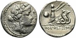Ancient Coins - ROME REPUBLIC M. Volteius M.f., Rome, 75 BC. AR Denarius. Head of Bacchus. R/ Ceres driving biga of snakes