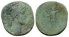 Ancient Coins - Commodus (177-192). Æ Sestertius - R/ Roma standing