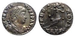 Ancient Coins - Gratian (367-383). AR Siliqua - Treveri - R/ Roma seated