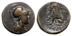 Ancient Coins - Phrygia, Peltai, c. 2nd-1st century BC. Æ - Athena / Lion seated