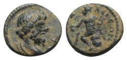Ancient Coins - Pamphylia, Attalea. Pseudo-autonomous issue, 2nd-3rd century AD. Æ 13mm. Bust of Poseidon. R/ HERMES