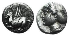 Ancient Coins - Corinth, c. 350-300 BC. AR Drachm. Pegasos R/ Head of Aphrodite