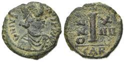 Ancient Coins - Justinian I (527-565). Æ 10 Nummi. Carthage, year 14 (540/1).