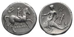 Ancient Coins - ITALY, CALABRIA, Tarentum. Circa 272-240 BC. AR Nomos. Aristokrates and Pi-, magistrates. Herm