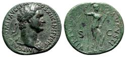 Ancient Coins - Domitian (81-96). Æ As - Rome - R/ Virtus