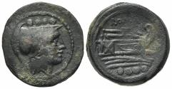 Ancient Coins - ROME REPUBLIC Anonymous, Rome, after 211 BC. Æ Triens. Helmeted head of Minerva. R/ Prow of galley