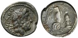 Ancient Coins - ROME REPUBLIC L. Rubrius Dossenus, Rome, 87 BC. AR Quinarius Head of Neptune; trident to left. R/ Victory