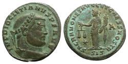 Ancient Coins - Diocletian (284-305). Æ Follis. Siscia, c. AD 301. R/ MONETA