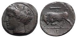 Ancient Coins - Sicily, Syracuse. Hieron II (275-215 BC). Æ Hemilitron