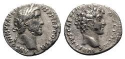 Ancient Coins - Antoninus Pius and Marcus Aurelius Caesar (138-161). AR Denarius