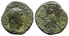 Ancient Coins - Philip I (244-249). Æ Sestertius - Rome - R/ Emperor seated